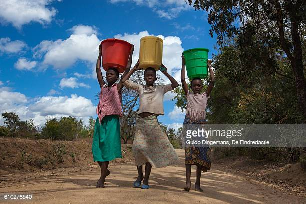 girls carrying water buckets at a borehole in malawi - armoede stockfoto's en -beelden