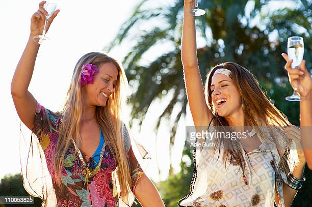 girls celebrating with champagne - alicante stock pictures, royalty-free photos & images