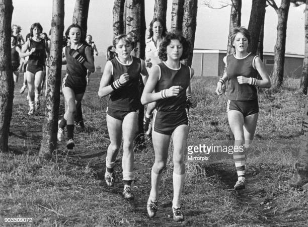 Girls compete in the Langbaurgh schools annual Cross Country championships North East England Saturday 14th January 1978