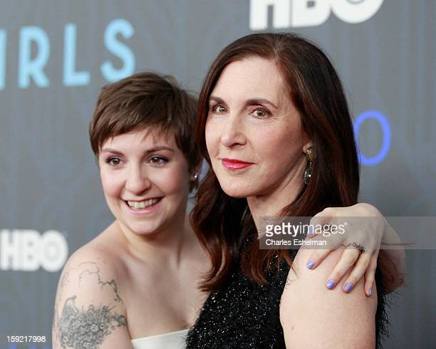 'Girls' creator Lena Dunham and mother Laurie Simmons attend HBO hosts the premiere of 'Girls' Season 2 at the NYU Skirball Center on January 9 2013...