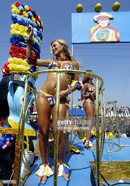 Girls dance during carnival in Barranquilla Colombia 21 February 2004 The 100 yearold Barranquilla's carnival was declared by the UNESCO in 2003 to...