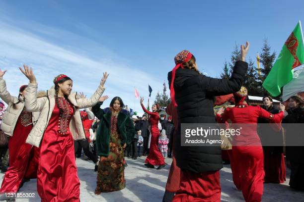 Girls dancing a traditional costumes during Nowruz celebrations in Kazan, Russia on March 21, 2021. Nowruz, also known as the Iranian or the Persian...