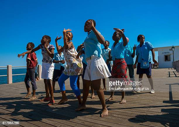 Girls dancing on a deck, island of mozambique, Mozambique on July 16, 2013 in Island Of Mozambique, Mozambique.