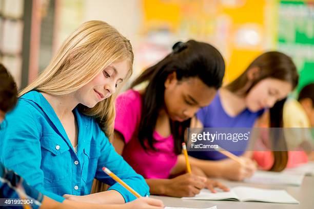 Girls Doing a Creative Writing Assignment