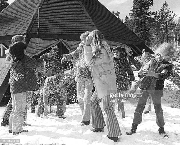 JAN 7 1972 FEB 17 1972 FEB 23 1972 Girls enjoy snowball fight in deep snow outside Teepee Lodge at Beaver Ranch 27 miles from Denver at Conifer