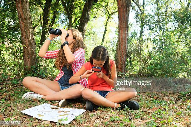 Girls exploring nature