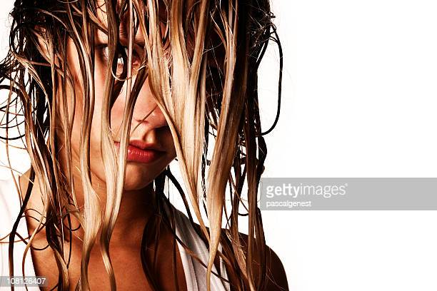girl's face  with wet long hair