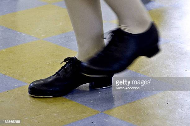 Girls feet in tap shoes