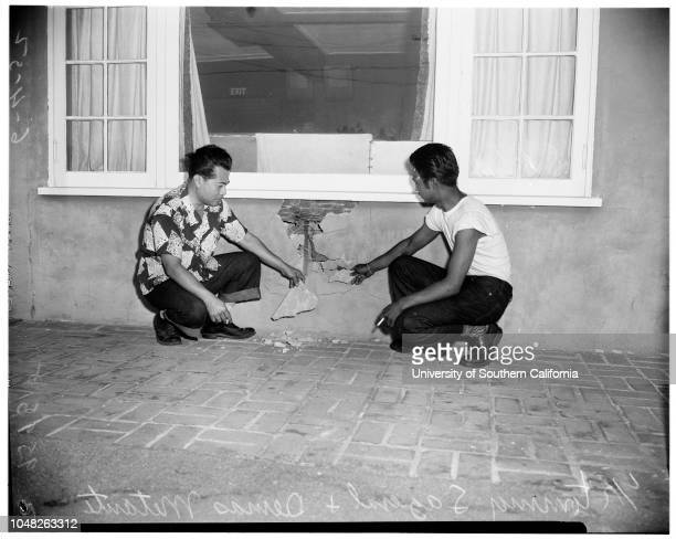 Girls fight at Charley Foys' Supper Club 4 June 1952 Toni Carroll Demas MetanteTommy SageralSherman Oaks Los Angeles California