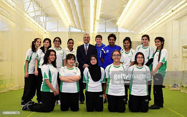 Girls from Carlton Bolling School pose with England Cricketer Isa Guha and Lord Patel of Bradford during the ECB announcement at Lord's Cricket...