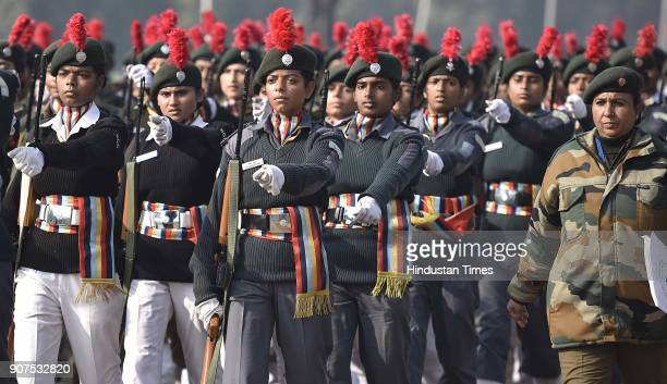 Girls from National Cadet Corps during the rehearsals for Republic Day 2018 at Rajpath on January 20 2018 in New Delhi India