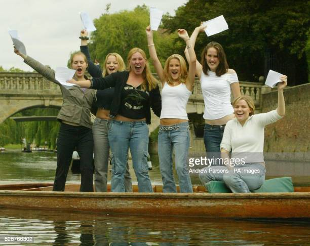 Girls From St Marys SchoolCambridge celebrate getting their GCSE results by punting on the River Cam near King's College
