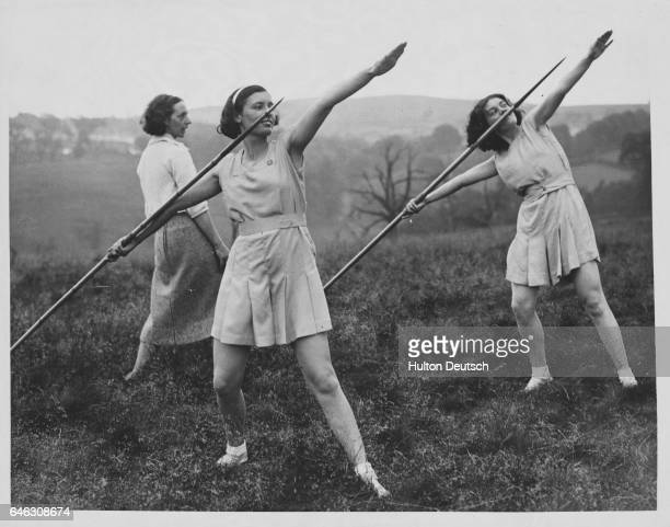Girls from the Pontypool Education Settlement are instructed in javelin throwing Wales 1938 | Location Pontypool Education Settlement Pontypool Gwent...