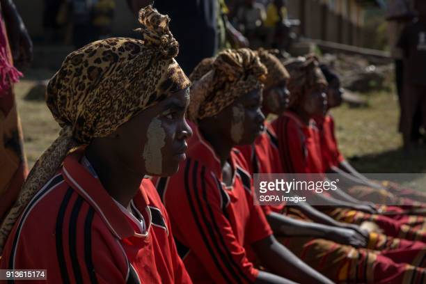 Girls from the Sebei tribe in Kapchorwa northeast Uganda reenact the ceremony they'd go through before circumcision or female genital mutilation Mud...