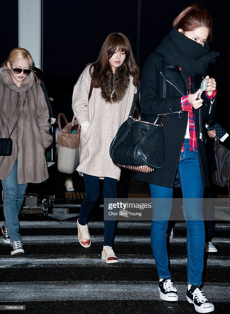Girls' Generation is seen at Incheon International Airport on January 18, 2013 in Incheon, South Korea.