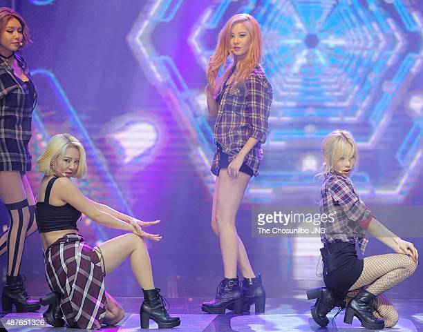 Girls' Generation perform onstage during the Tencent KPOP LIve Music at WAPOP Hall on August 31 2015 in Seoul South Korea