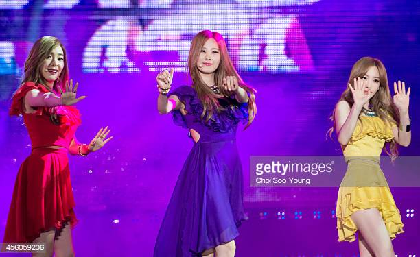 Girls' GenerationTTS perform onstage during the KPop EXPO in Asia at North Incheon Bokhapdanji on September 21 2014 in Incheon South Korea