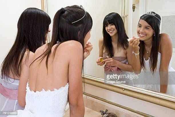 girls getting ready for party - quinceanera stock pictures, royalty-free photos & images