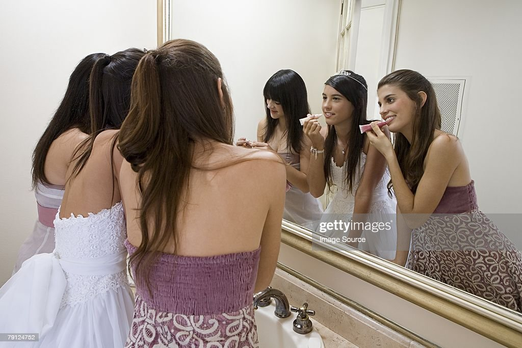 Girls getting ready for party : Stock Photo