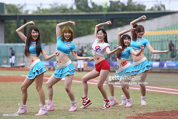A girls group 'Baseball Sweet Heart' performs during the IBAF 21U Baseball World Cup Group C game between Chinese Taipei and Japan at Taichung...
