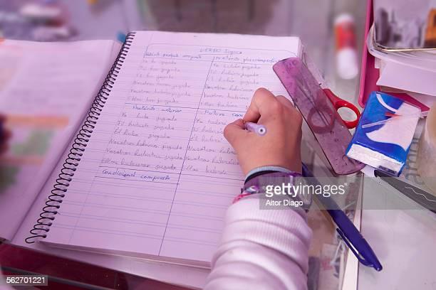 Girls hand writing