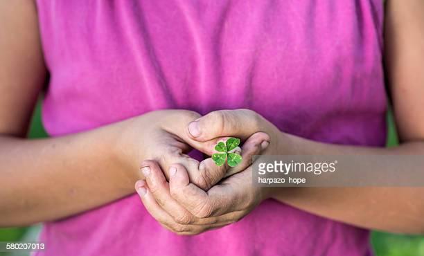 Girl's hands holding a four-leaf clover