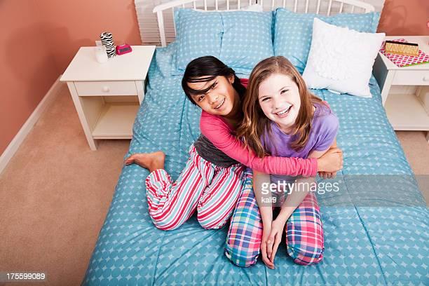 Girls having a sleepover