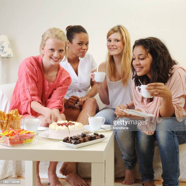 Girls having a small party at home