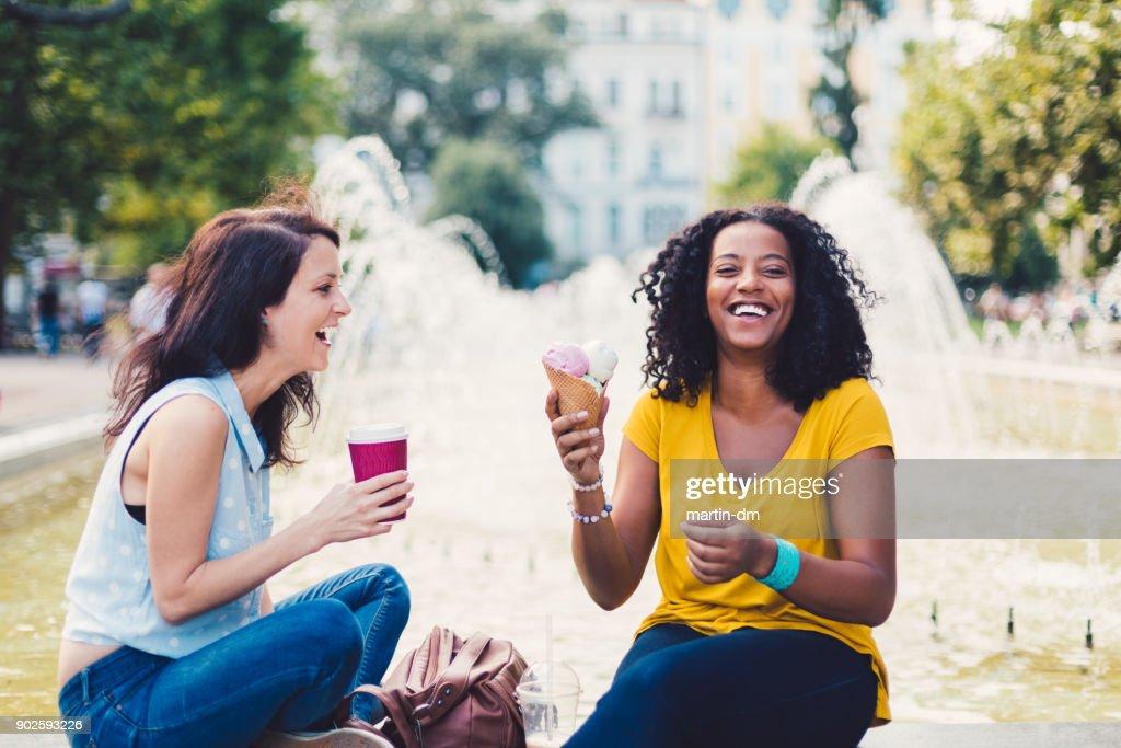 Girls having fun at summer : Stock Photo