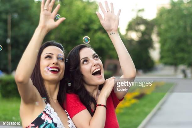 Girls having fun in a park
