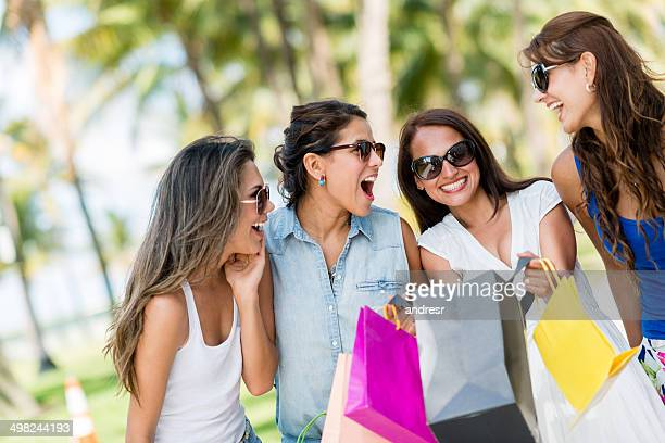 Girls having fun shopping