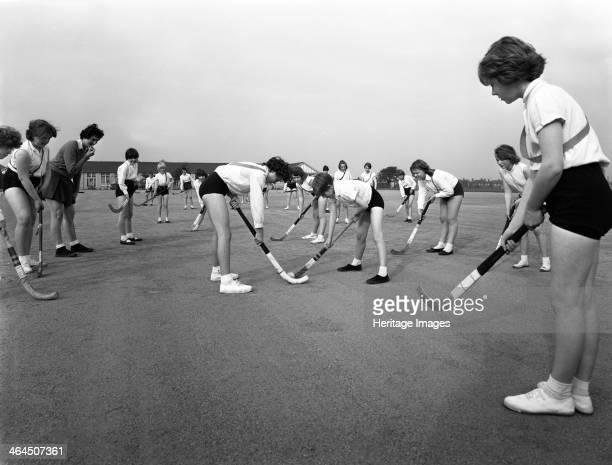 Girls hockey match Airedale school Castleford West Yorkshire 1962