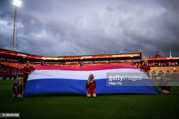 Girls hold a flag of Netherlands prior the UEFA Women's Euro 2017 Group A match between Netherlands and Denmark at Sparta Stadion on July 20 2017 in...