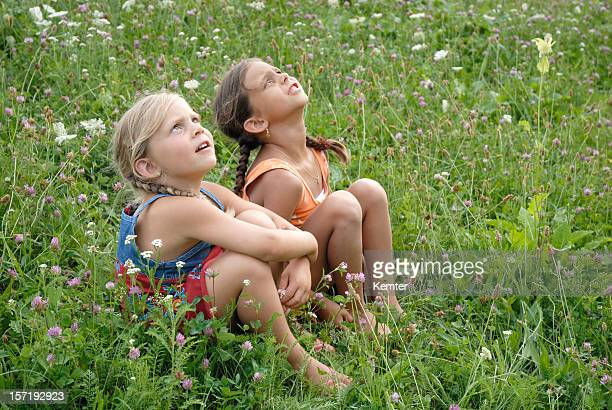 girls in a blooming meadow - model stock photos and pictures