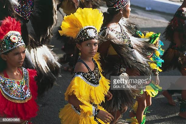 Girls in a traditional costume during the Bumba Meu Boi celebrations Sao Luis Island Maranhao Brazil