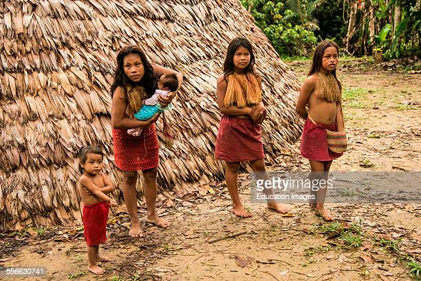 Girls in a village on the Amazon River Peru