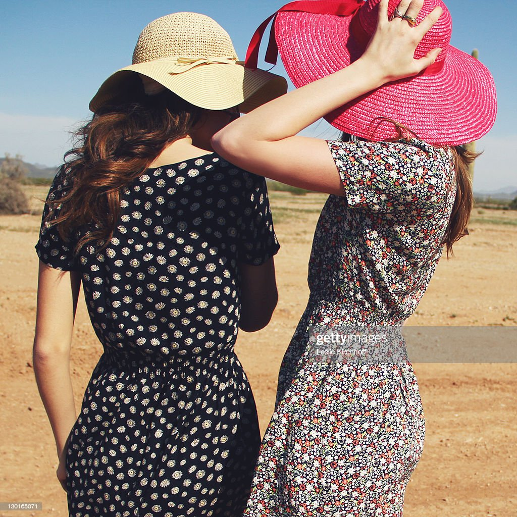 Girls in hats : Stock Photo