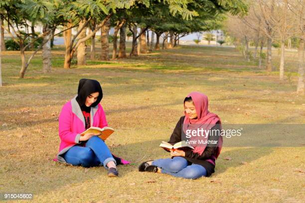 girls in hijab enjoying reading novels on holiday in the park - amir mukhtar stock photos and pictures