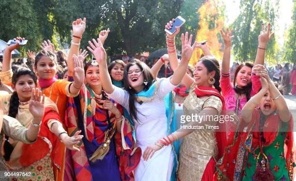 Girls in jubilant mood during Lohri celebration in Guru Gobind Singh Khalsa College for Women at sector 26, on January 13, 2018 in Chandigarh, India....