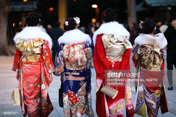girls in kimono - seijin no hi stock pictures, royalty-free photos & images