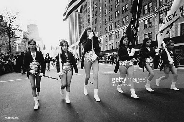 Girls in majorette costumes marching in the 'Home With Honor' parade to mark the homecoming of American troops from Vietnam New York City 1973