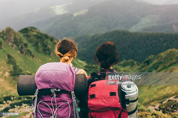 Girls in mountains
