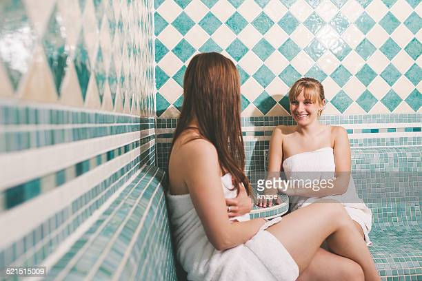 Girls in the sauna at a health spa