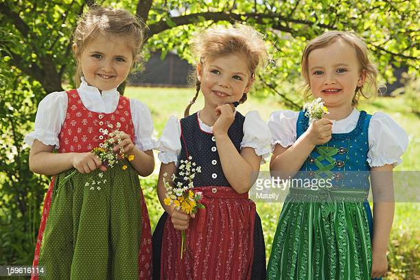 Girls in traditional Bavarian clothes