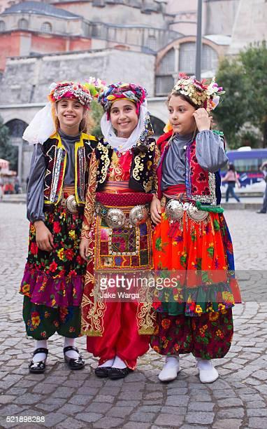 Girls in traditional Turkish dress, Istanbul, Turkey
