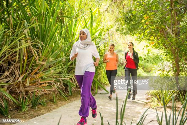 Girls jogging in outdoor