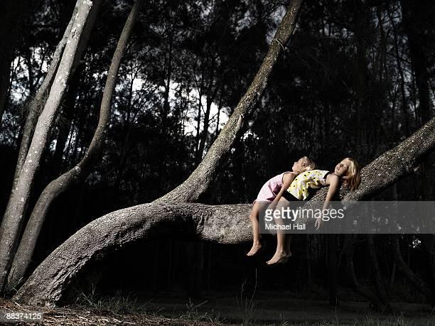 Girls laying asleep on tree branch