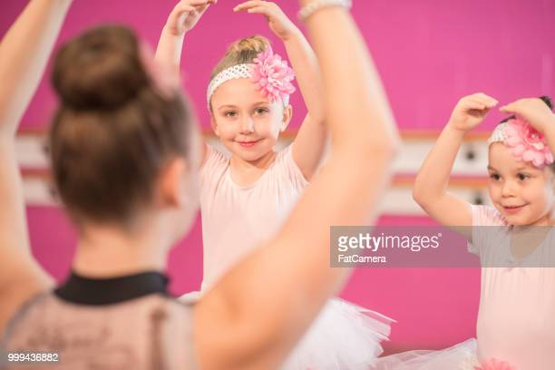 Girls learning ballet