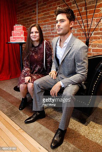 'Girl's Life Magazine' contest winner Alexis Neimann poses for a photo at the Madame Tussauds Washington DC unveiling of a never before seen Zac...