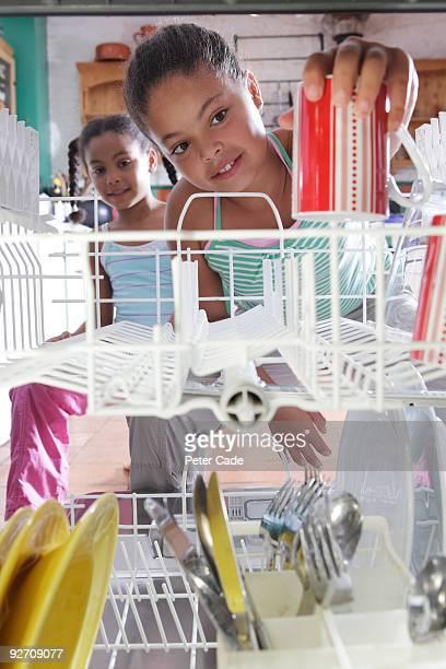 girls loading dishwasher